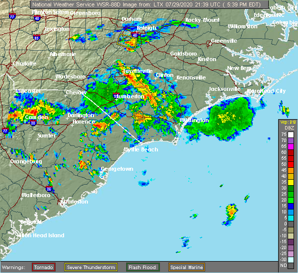 Radar Image for Severe Thunderstorms near Lake Waccamaw, NC at 7/29/2020 5:44 PM EDT