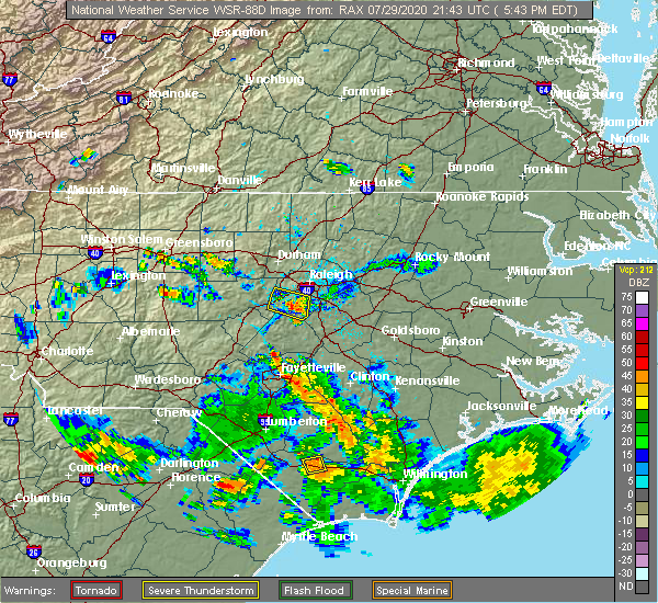 Radar Image for Severe Thunderstorms near Garner, NC at 7/29/2020 5:47 PM EDT