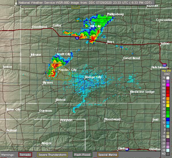 Radar Image for Severe Thunderstorms near Garden City, KS at 7/29/2020 6:49 PM CDT