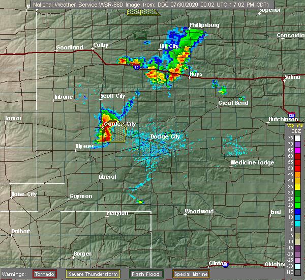 Radar Image for Severe Thunderstorms near Garden City, KS at 7/29/2020 7:03 PM CDT