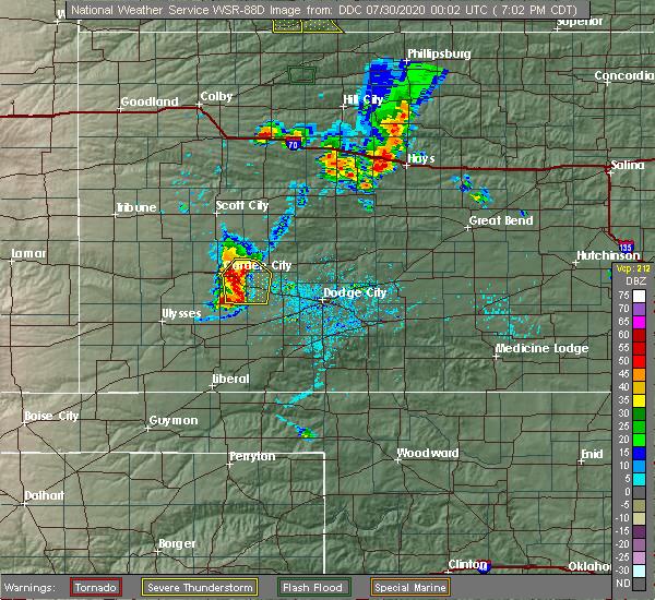 Radar Image for Severe Thunderstorms near Cimarron, KS at 7/29/2020 7:06 PM CDT