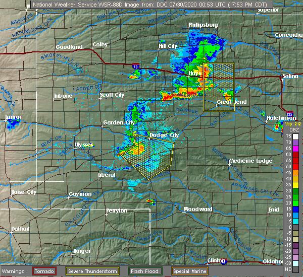 Radar Image for Severe Thunderstorms near Ford, KS at 7/29/2020 7:57 PM CDT