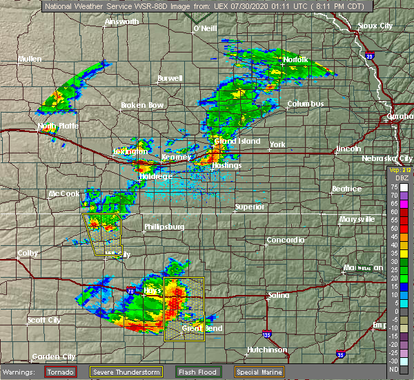 Radar Image for Severe Thunderstorms near Edmond, KS at 7/29/2020 8:14 PM CDT