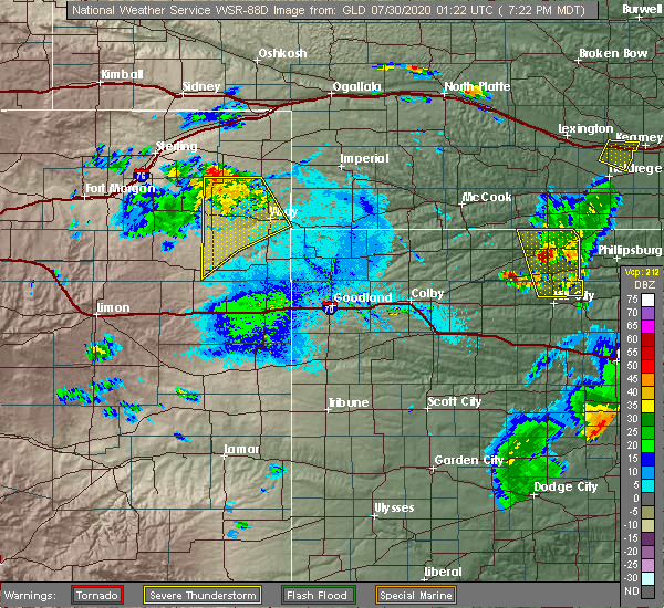 Radar Image for Severe Thunderstorms near Yuma, CO at 7/29/2020 7:31 PM MDT
