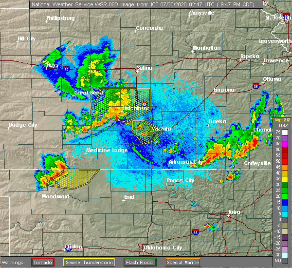 Radar Image for Severe Thunderstorms near South Hutchinson, KS at 7/29/2020 9:54 PM CDT