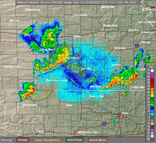 Radar Image for Severe Thunderstorms near Willowbrook, KS at 7/29/2020 9:54 PM CDT