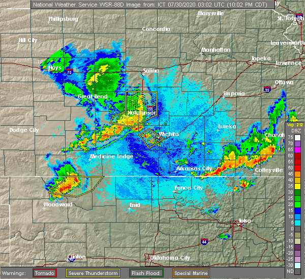 Radar Image for Severe Thunderstorms near South Hutchinson, KS at 7/29/2020 10:08 PM CDT