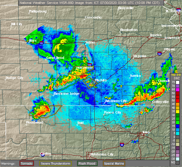 Radar Image for Severe Thunderstorms near Andover, KS at 7/29/2020 10:15 PM CDT