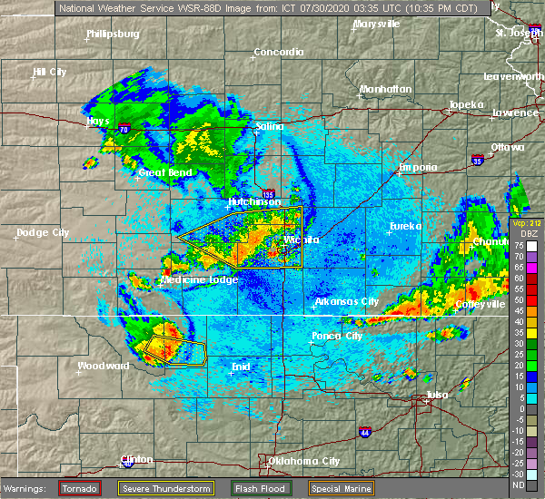 Radar Image for Severe Thunderstorms near Andover, KS at 7/29/2020 10:40 PM CDT