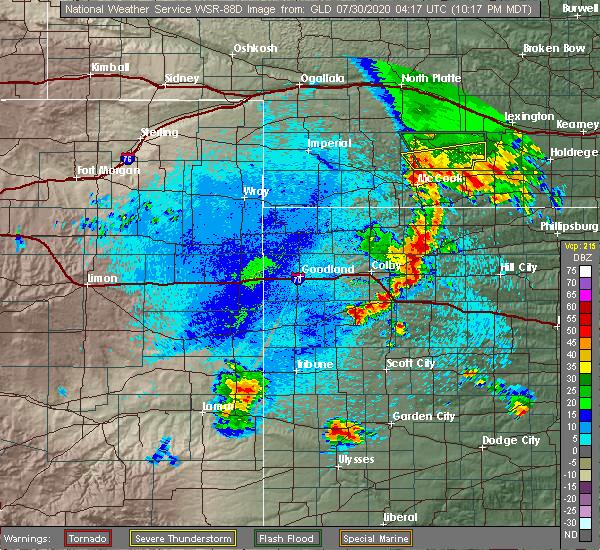 Radar Image for Severe Thunderstorms near Selden, KS at 7/29/2020 11:23 PM CDT