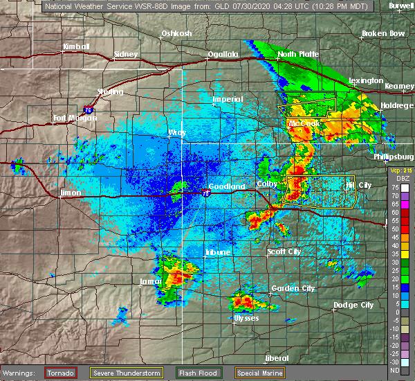 Radar Image for Severe Thunderstorms near Selden, KS at 7/29/2020 11:36 PM CDT