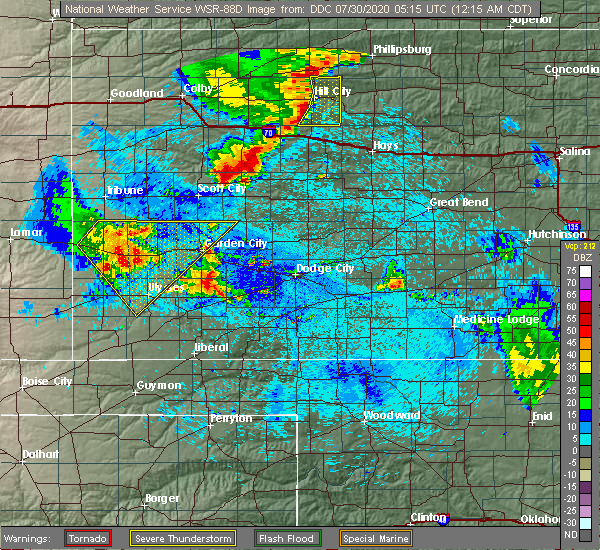 Radar Image for Severe Thunderstorms near Ulysses, KS at 7/30/2020 12:21 AM CDT
