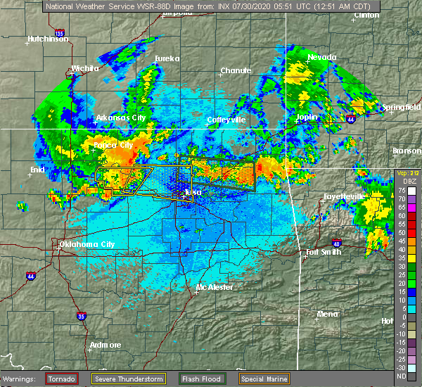 Radar Image for Severe Thunderstorms near Vera, OK at 7/30/2020 12:54 AM CDT