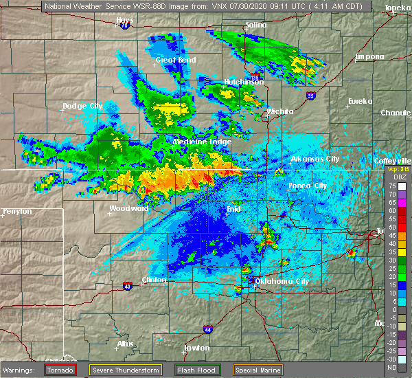 Radar Image for Severe Thunderstorms near Fairmont, OK at 7/30/2020 4:17 AM CDT
