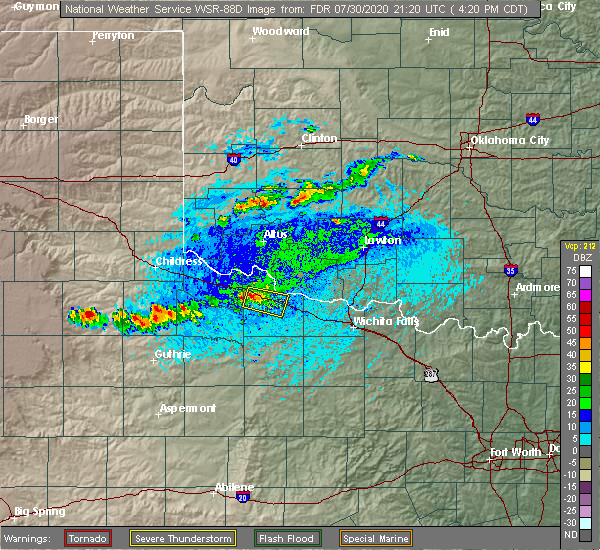 Radar Image for Severe Thunderstorms near Lone Wolf, OK at 7/30/2020 4:25 PM CDT