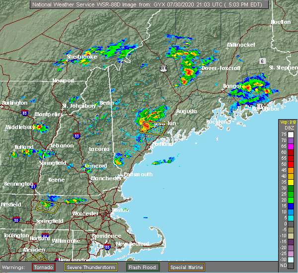 Radar Image for Severe Thunderstorms near Gray, ME at 7/30/2020 5:27 PM EDT