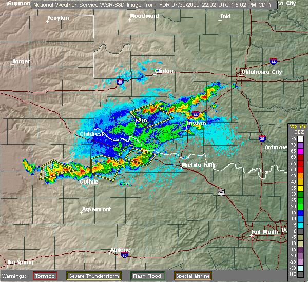 Radar Image for Severe Thunderstorms near Vernon, TX at 7/30/2020 5:05 PM CDT