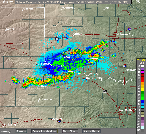 Radar Image for Severe Thunderstorms near Marlow, OK at 7/30/2020 5:10 PM CDT