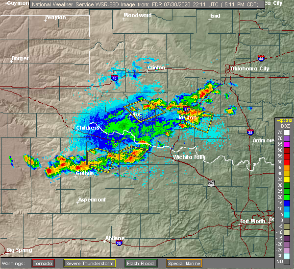 Radar Image for Severe Thunderstorms near Marlow, OK at 7/30/2020 5:14 PM CDT