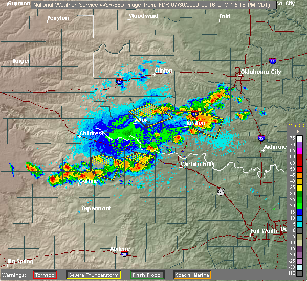 Radar Image for Severe Thunderstorms near Marlow, OK at 7/30/2020 5:24 PM CDT