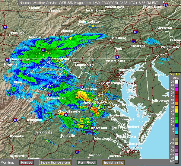 Radar Image for Severe Thunderstorms near Fredericksburg, VA at 7/30/2020 6:46 PM EDT