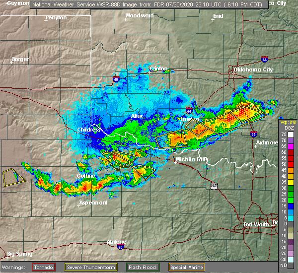 Radar Image for Severe Thunderstorms near Wichita Falls, TX at 7/30/2020 6:17 PM CDT