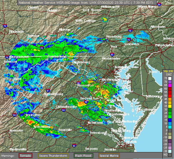 Radar Image for Severe Thunderstorms near Woodlawn, MD at 7/30/2020 7:45 PM EDT
