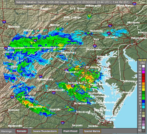 Radar Image for Severe Thunderstorms near Morningside, MD at 7/30/2020 7:50 PM EDT