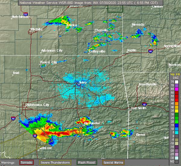 Radar Image for Severe Thunderstorms near Savanna, OK at 7/30/2020 6:59 PM CDT