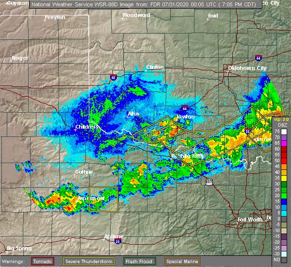 Radar Image for Severe Thunderstorms near Addington, OK at 7/30/2020 7:13 PM CDT