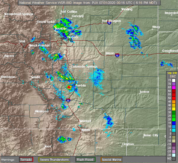 Radar Image for Severe Thunderstorms near Pueblo West, CO at 7/30/2020 6:19 PM MDT