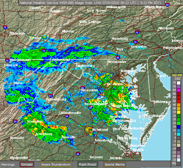 Radar Image for Severe Thunderstorms near Lansdowne, MD at 7/30/2020 8:30 PM EDT