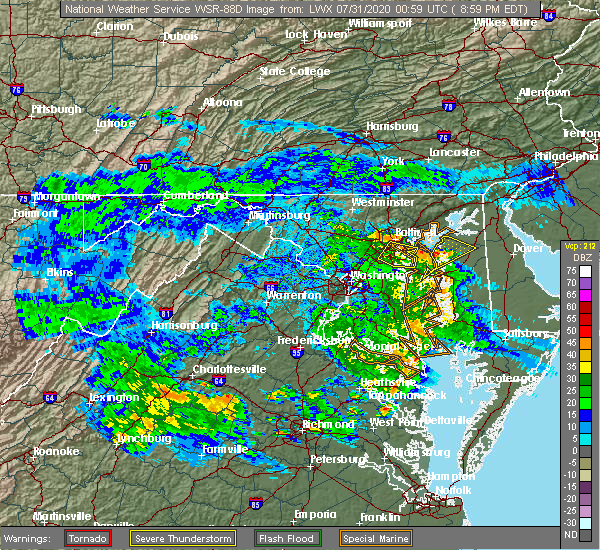 Radar Image for Severe Thunderstorms near Lansdowne, MD at 7/30/2020 9:04 PM EDT