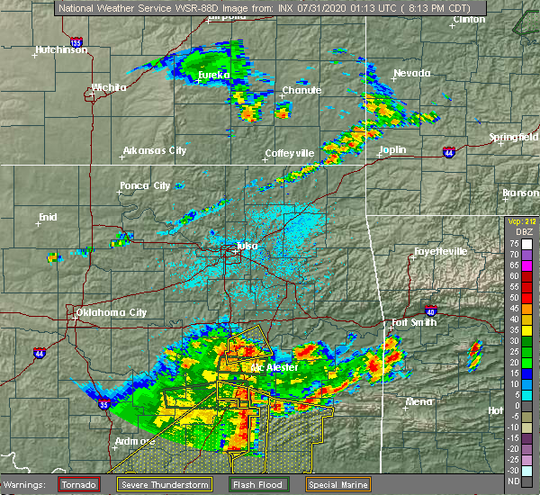 Radar Image for Severe Thunderstorms near Eufaula, OK at 7/30/2020 8:16 PM CDT