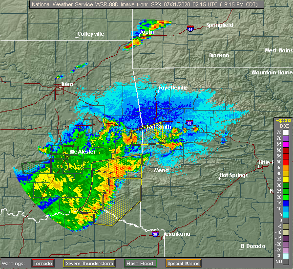 Radar Image for Severe Thunderstorms near Cove, AR at 7/30/2020 9:27 PM CDT