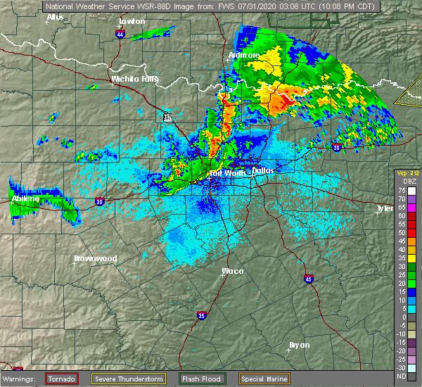 Radar Image for Severe Thunderstorms near Denison, TX at 7/30/2020 10:12 PM CDT