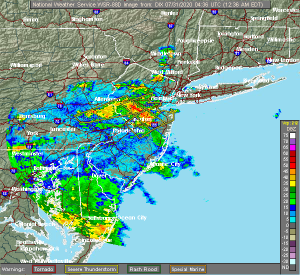 Radar Image for Severe Thunderstorms near Flemington, NJ at 7/31/2020 12:41 AM EDT