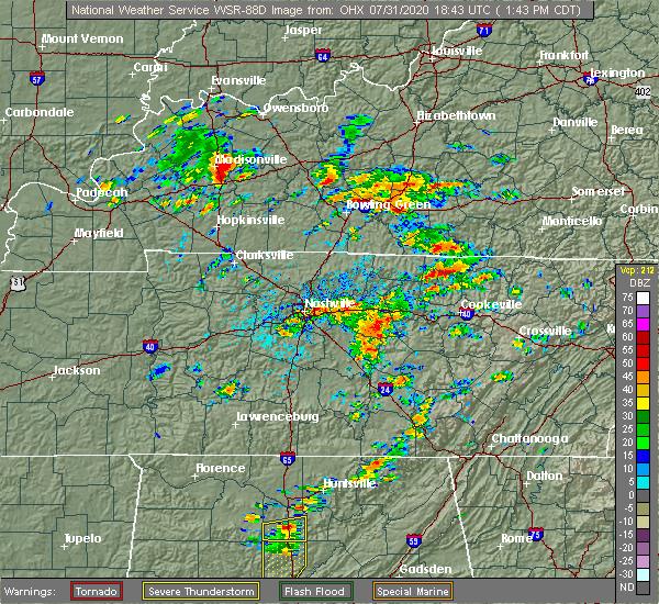 Radar Image for Severe Thunderstorms near Alexandria, TN at 7/31/2020 1:48 PM CDT