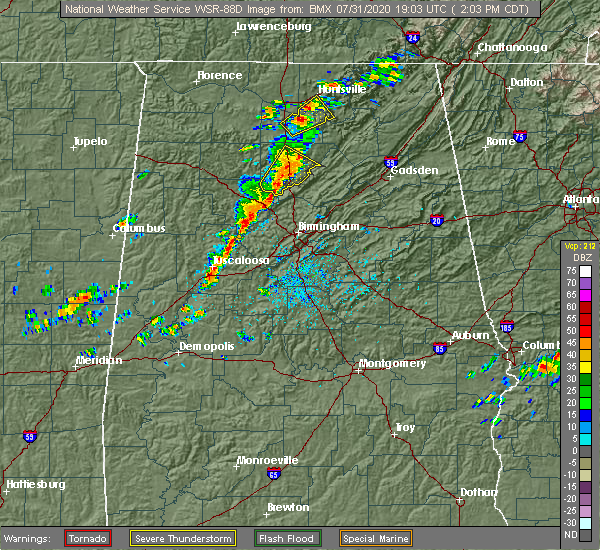 Radar Image for Severe Thunderstorms near Cleveland, AL at 7/31/2020 2:17 PM CDT