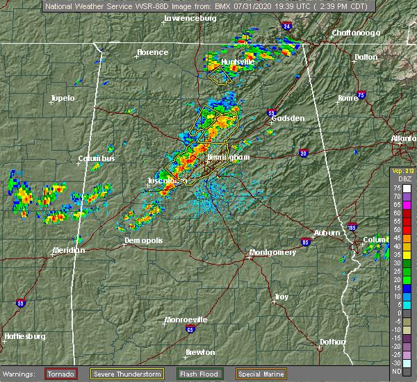 Radar Image for Severe Thunderstorms near Birmingham, AL at 7/31/2020 2:45 PM CDT