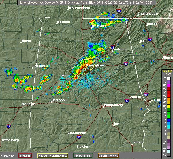 Radar Image for Severe Thunderstorms near Birmingham, AL at 7/31/2020 3:09 PM CDT