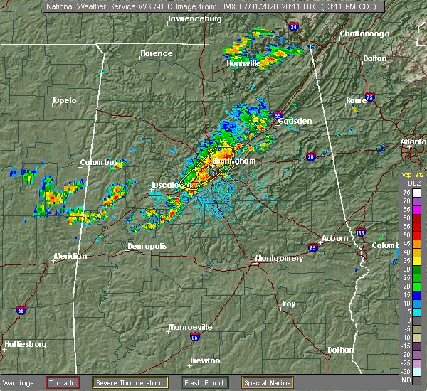 Radar Image for Severe Thunderstorms near Birmingham, AL at 7/31/2020 3:16 PM CDT