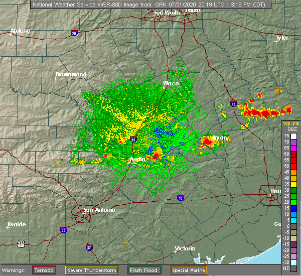 Radar Image for Severe Thunderstorms near McDade, TX at 7/31/2020 3:23 PM CDT