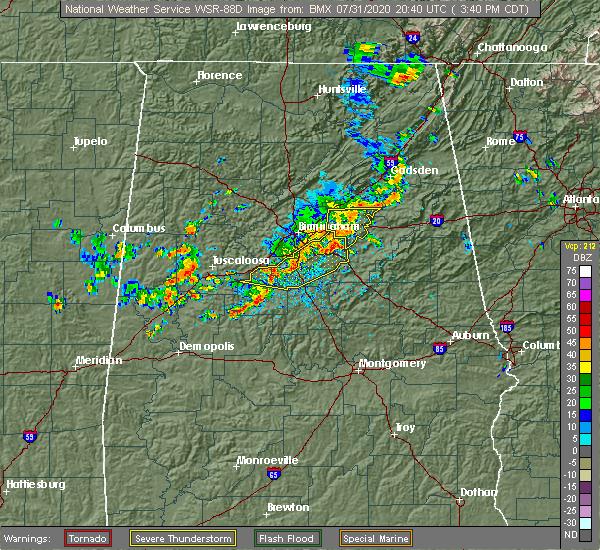 Radar Image for Severe Thunderstorms near Birmingham, AL at 7/31/2020 3:49 PM CDT