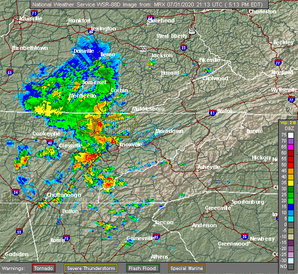 Radar Image for Severe Thunderstorms near Andersonville, TN at 7/31/2020 5:27 PM EDT