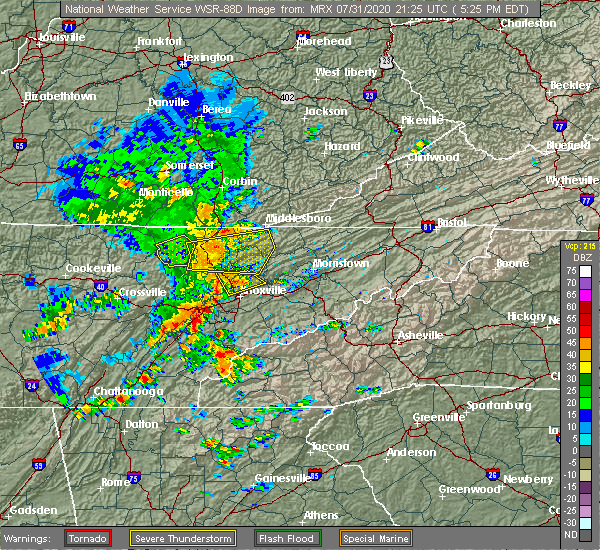 Radar Image for Severe Thunderstorms near Oneida, TN at 7/31/2020 5:29 PM EDT