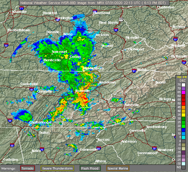 Radar Image for Severe Thunderstorms near Morristown, TN at 7/31/2020 6:20 PM EDT