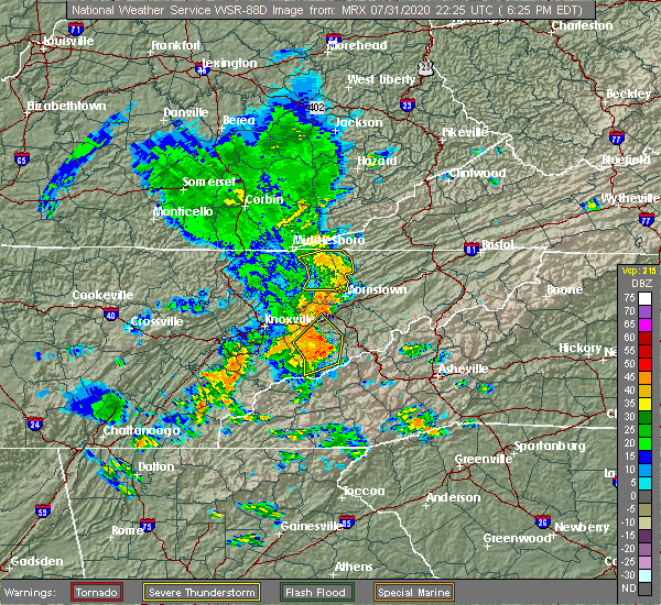 Radar Image for Severe Thunderstorms near Morristown, TN at 7/31/2020 6:31 PM EDT