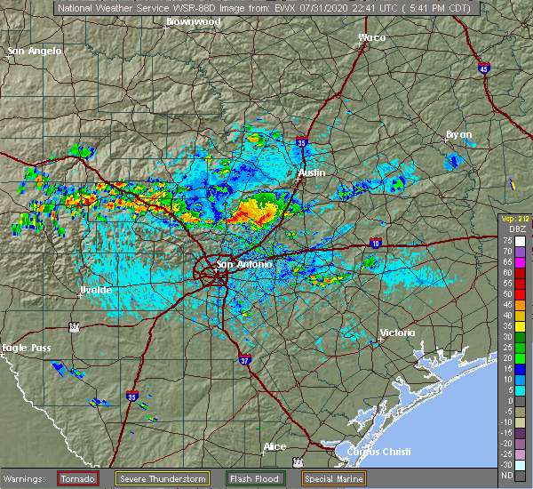 Radar Image for Severe Thunderstorms near Randolph AFB, TX at 7/31/2020 5:49 PM CDT