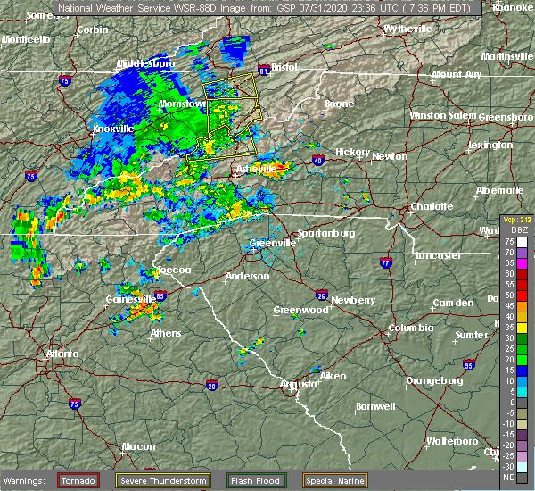 Radar Image for Severe Thunderstorms near Crossnore, NC at 7/31/2020 7:40 PM EDT